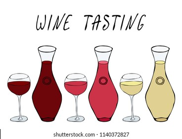 Alcohol Beverage Red, Rose, White Wine in a Decanter and Wine Glasses. Bar Collection. Realistic Hand Drawn High Quality Vector Illustration. Doodle Style.