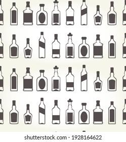 Alcohol bottels seamless patten, booze background, vector