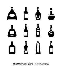 Alcohol bottle icon simple flat style vector illustration.