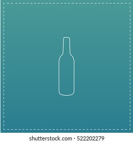 alcohol bottle Simple line vector button. Thin line illustration icon. White outline symbol on blue background