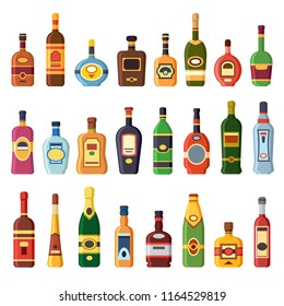Alcohol bottles. Alcoholic liquor drink bottle with vodka, cognac and liqueur. Whisky, rum tequila gin beer vermouth or brandy liquors bottles on bar shelf, spirit alcoholism isolated flat icons set