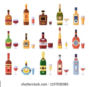 Alcohol bottles and glasses. Alcoholic bottle with cider, vermouth in glass or liqueur shot and wineglasses for pub or champagne and wine for winery elegant tasting. Flat isolated icons vector set