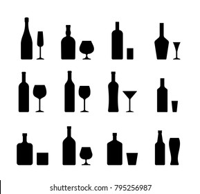 Alcohol bottles and glasses. Set black icons beverages isolated on white background in flat design. Vector illustration. Alcoholic drinks with wineglasses.