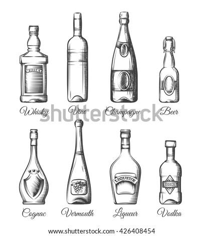alcohol bottles hand drawn style beverage stock vector royalty free