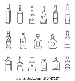 Alcohol bottles. Set of black line icons. Different types of alcohol bottles.