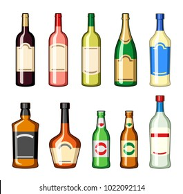 Alcohol bottles set, drinks vectors set, wine, champagne, whiskey, cognac, beer, martini