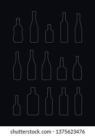 alcohol bottles set.vector outline illustration on dark blue background