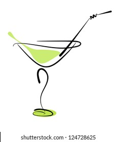 Alcohol cocktail in glass with straw on white. Vector eps10 illustration. Raster file included in portfolio