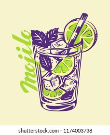 alcohol cocktail Mojito in glass. Vector illustration