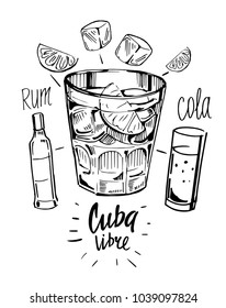 Alcohol cocktail. Whiskey, rum, ice, lime, cola. Cuba libre. Vector illustration.