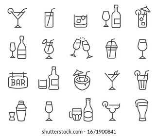 Alcohol and cocktails icon set. Collection of linear simple web icons such as glasses, spirits, beer, bar, champagne, whiskey, wine etc. Editable vector stroke.