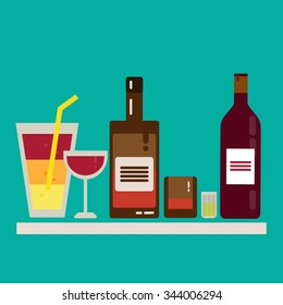 Alcohol drink barman icon flat set. Wine, spirit, cocktails, wine, whiskey, bar, bottle, glasses, liquor.