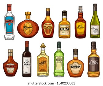Alcohol drink bottles, bar menu, beverage icons. Vector isolated bottles of quality wine, rum and brandy, Scotch whiskey and vodka, elite alcohol cognac with absinthe, tequila and bourbon