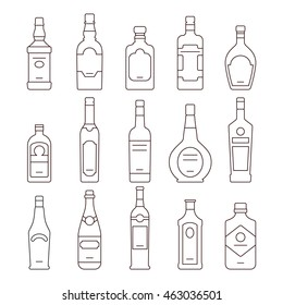 Alcohol drink bottles types of vector icons set
