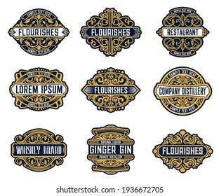Alcohol drink brand, beverage or company retro labels with ornate and flourish embellishments. Whiskey, ginger gin liquor or wine, distillery, restaurant or bar vintage badge, coaster vector templates