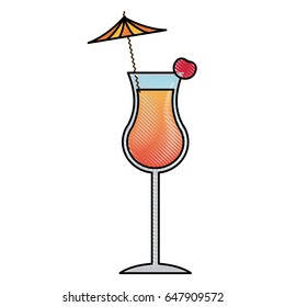 alcohol drink icon. cold cocktail with umbrella in glass.