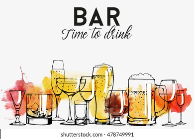 Alcohol drinks banner design. champagne, red wine, white wine, vermouth, brandy, whiskey, beer. Vector set. watercolor texture.