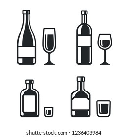 Alcohol drinks bottle and glass icons. Wine, champagne, whiskey and liqueur. Simple and stylish black and white vector illustration.