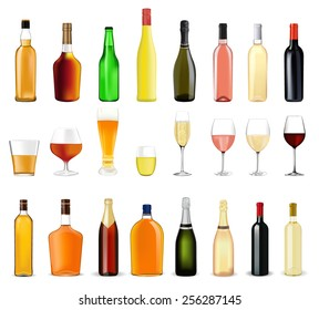 Alcohol drinks in bottles and glasses: whiskey, cognac, brandy, beer, liquor, champagne, wine   - vector drawing isolated on white