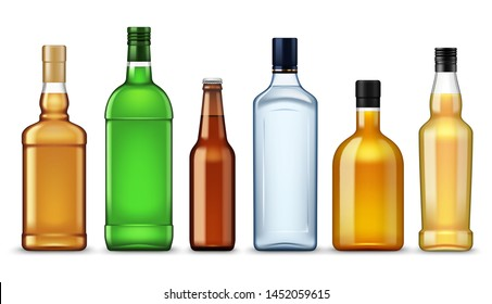 Alcohol drinks bottles, realistic 3d mockup templates, Vector isolated vodka or tequila, whiskey and cognac, vermouth and absinthe, liquor or bourbon and beer bottles, premium brands beverages