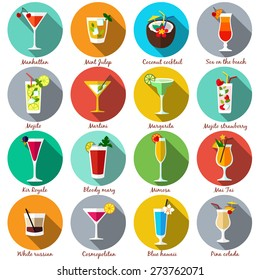 Alcohol drinks and cocktails icon set in flat design style. Vector illustration.