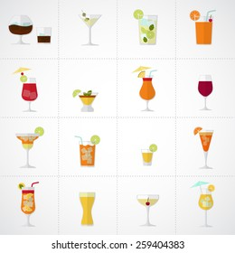 Alcohol drinks and cocktails soft and long-drinks icon set in flat design style.