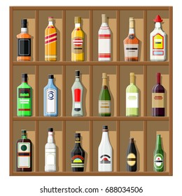 Alcohol drinks collection. Bottles on shelf. Vodka champagne wine whiskey beer brandy tequila cognac liquor vermouth gin rum absinthe sambuca cider bourbon. Vector illustration in flat style