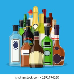 Alcohol drinks collection. Bottles with vodka champagne wine whiskey beer brandy tequila cognac liquor vermouth gin rum absinthe sambuca cider bourbon. Vector illustration in flat style