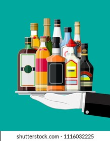 Alcohol drinks collection in tray of waiter. Bottles with vodka champagne wine whiskey beer brandy tequila cognac liquor vermouth gin rum absinthe sambuca cider bourbon. Vector illustration flat style