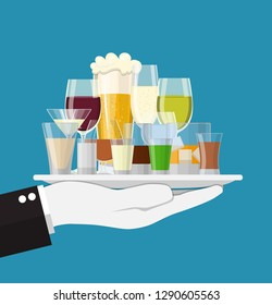 Alcohol drinks collection in tray of waiter. glasses with vodka champagne wine whiskey beer brandy tequila cognac liquor vermouth gin rum absinthe . Vector illustration flat style