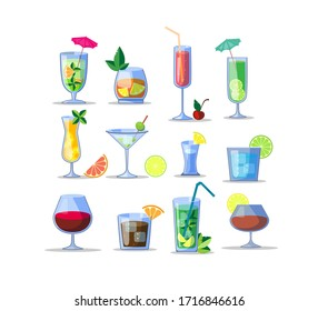Alcohol drinks flat icon kit. Popular colorful cocktails in glasses isolated vector illustration collection. Beverages and party concept