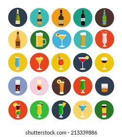 Alcohol drinks icon set flat style,vector eps10 illustration