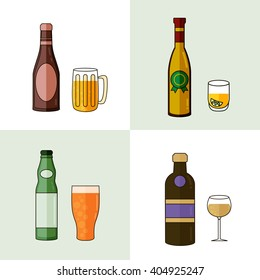 Alcohol Drinks Icon Set in Flat Design Style. Vector illustration.