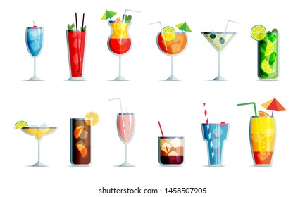 Alcohol drinks icon set in trendy flat design style. Popular cocktails for design menu, posters, brochures for cafe, bar.