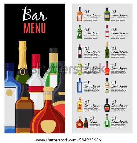 alcohol drinks menu template bar restaurant stock vector royalty