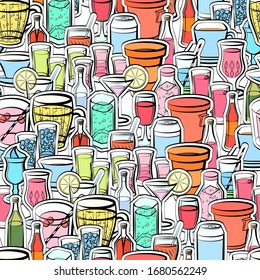 Alcohol and Drinks pattern. Background for printing, design, web. Seamless. Colored.