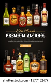 Alcohol drinks, premium beverages bar menu, store sketch poster. Vector elite quality brand vodka, Irish and Scotch whiskey and wine, elite cognac with absinthe, tequila and bourbon bottles
