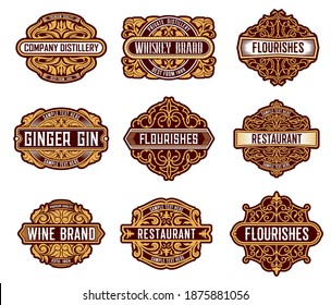 Alcohol drinks retro label floral embellishments. Whiskey, wine and ginger gin beverages brand badges with leaves and curls ornament decoration. Restaurant and distillery company vintage emblems