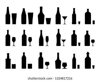 Alcohol drinks set silhouette. Bottles with glasses. Vodka champagne wine whiskey beer brandy tequila cognac liquor vermouth gin rum absinthe sambuca cider bourbon. Vector illustration flat style