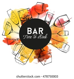 Alcohol drinks.Watercolor vector background