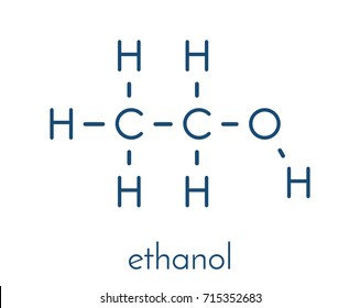 Alcohol (ethanol, ethyl alcohol) molecule, chemical structure. Skeletal formula.