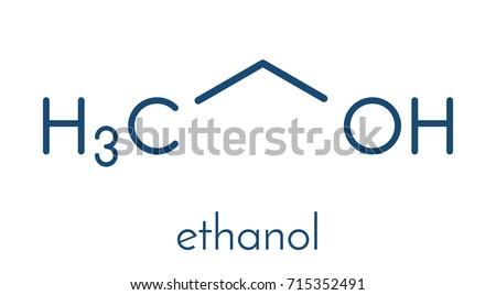Alcohol Ethanol Ethyl Alcohol Molecule Chemical Stock Vector