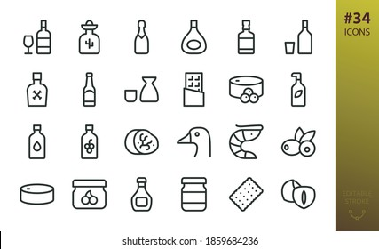 Alcohol and Gastronomy food icon set. Set of alcohol drinks, wine, whiskey, cognac, foie gras, caviar, shrimps, truffle, olive oil, preservation food, pate, jam, hazelnuts, sauce bottle vector icons