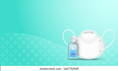 Alcohol Gel Hand Sanitizer and Disposable Hygienic or medical Mask on green background . Vector illustration .