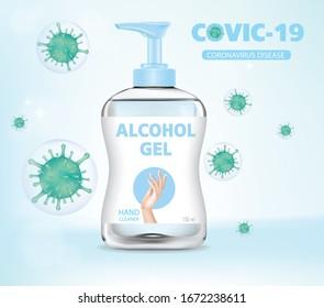 Alcohol gel. Hand wash gel vector. Hand wash gel and Bacteria vector.