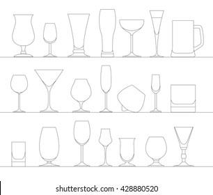Alcohol glasses flat icon set. Different alcohol beverages. Vector illustration
