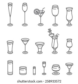 Alcohol glasses. Icon Set.  Different types of alcohol glasses.