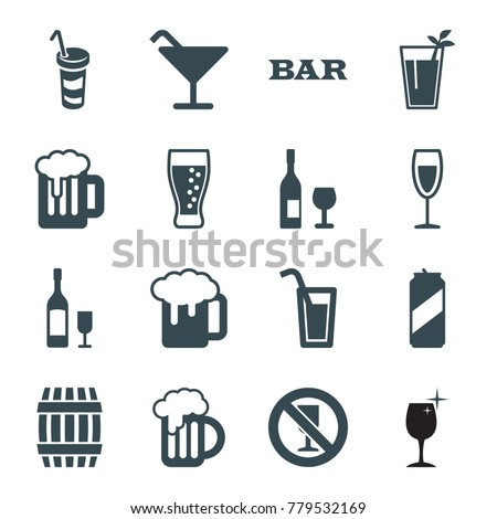 Alcohol Icons Set 16 Editable Filled Stock Vector Royalty Free