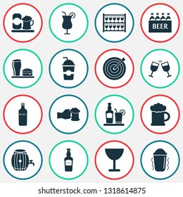 Alcohol icons set with elite rum, shaker in action, goblet and other goblet elements. Isolated vector illustration alcohol icons.