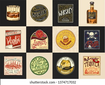 Alcohol Labels. Set of Vintage American badge with calligraphic elements.Hand drawn engraved Rum Whiskey Beer.